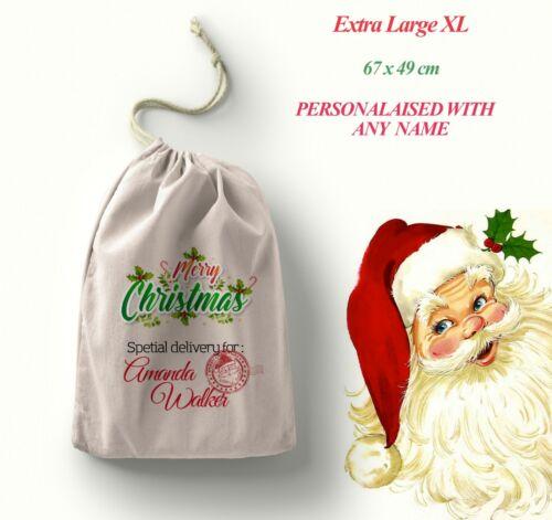 Personnalisé de Santa Sack Père Noël Sac Cadeau de Noël Stocking cadeau Taille XL