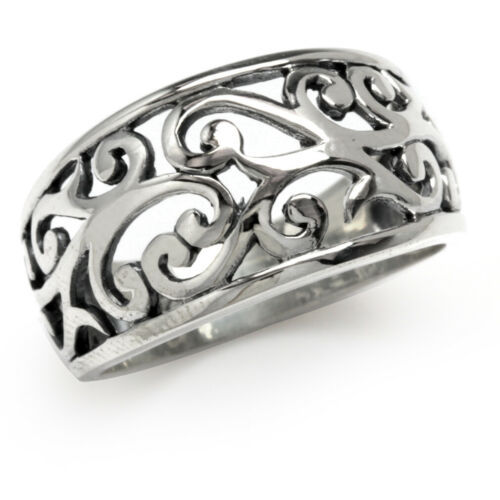 925 Sterling Silver Filigree Victorian Style Wide Band Ring SZ 6
