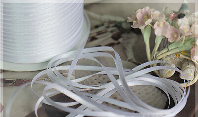 """White Ivory 1//8 1//16/"""" Polyester Satin Curling Ribbon 500 Yards Wholesale Spool"""