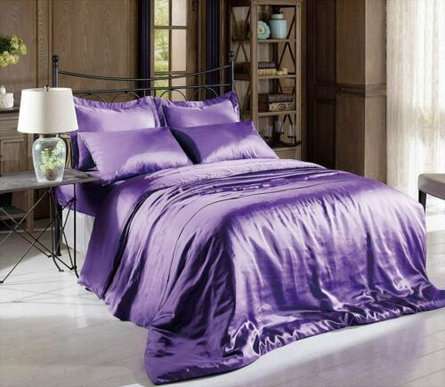 800 TC New Satin Silk Soft Linen 4 PC Bed Sheet Set All Size Solid Color