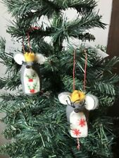 Set of 2 amazing Elephants with Crown Christmas Tree Decorations Gisela Graham