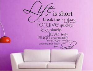 Life-is-Short-spirituall-quote-wall-sticker-Vinyl-Decal-Home-Art-Decoration