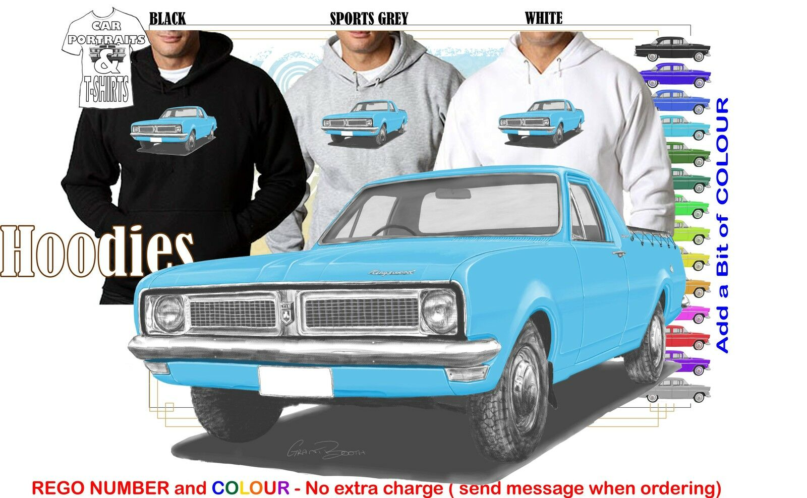 70-71 HG HOLDEN UTE HOODIE ILLUSTRATED CLASSIC RETRO MUSCLE SPORTS CAR