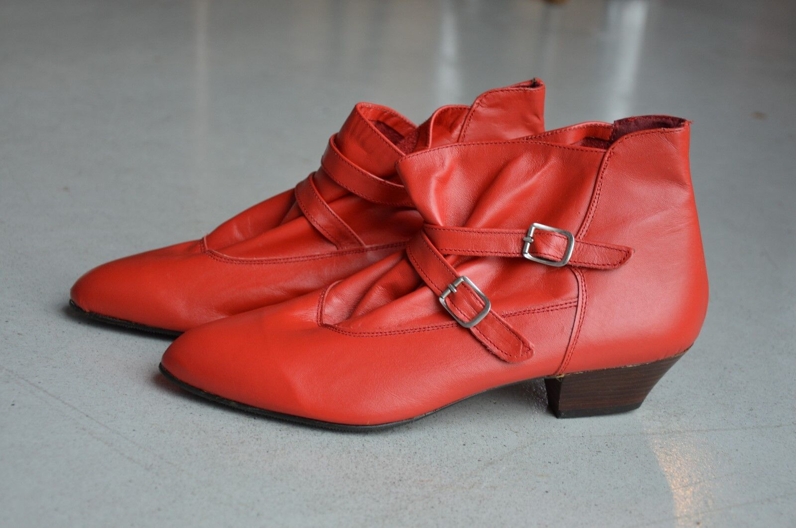 Stiefel Stiefelette gerafft Schnallen OVP 80er True Vintage 80s ankle Stiefel NOS