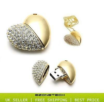 GOLD DIAMOND HEART 16GB NOVELTY USB FLASH DRIVE MEMORY STICK GIFT *WITH CHAIN