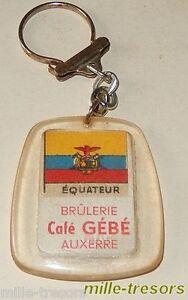 Ancien-Porte-cles-Cafes-GeBe-BRULERIE-AUXERRE-Drapeaux-EQUATEUR-SYRIE