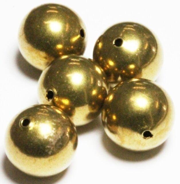 USA 16 MM Vintage Brass Round Seamless Hollow Beads Hole 2.0 MM Pkg 10 Vintage