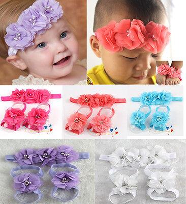 Lovely Foot Flower Barefoot Sandals+Butterfly Headband Set Infants Girl Baby