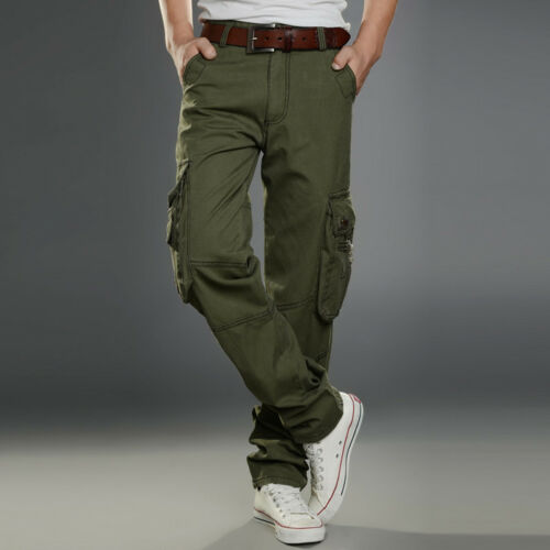 Men/'s Casual Skinny Coton Sarouel Combinaison de travail cargo straight Pantalon Combat