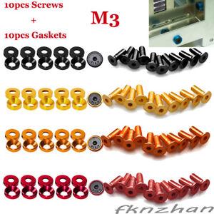 M3-10x-Countersunk-Head-Bolt-Washers-Gasket-10x-Flat-Head-Hexagon-Socket-Screws