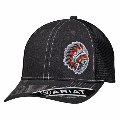 Ariat Mens Hat Baseball Cap Mesh Snap Skull Indian Chief Head Grey 1500406