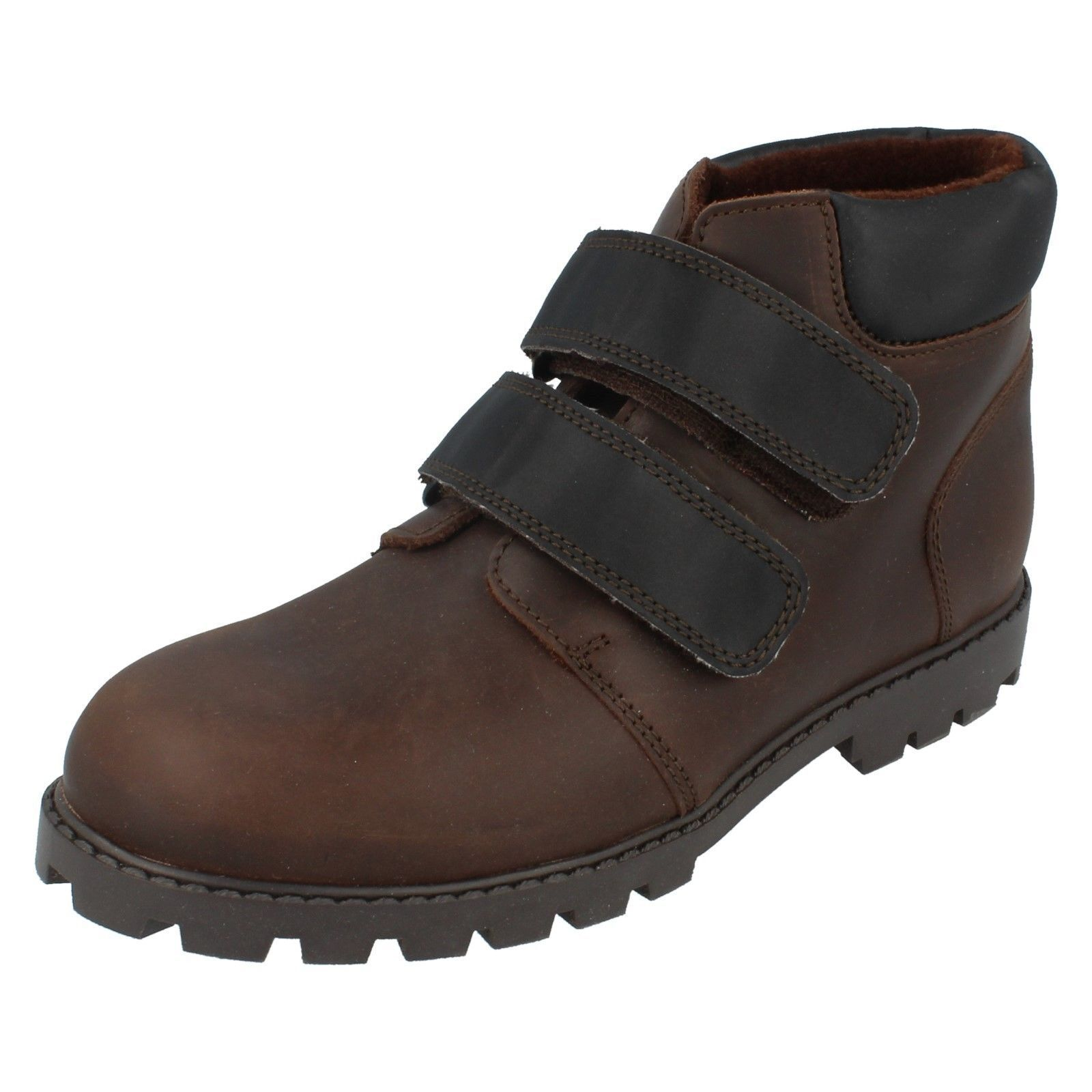 Hydrophane Dark Brown Leather Riptape strap ankle boot UK 1 HYDRO HOUNDZ