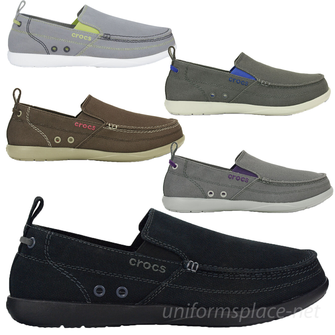 Crocs shoes Men's Loafer Slip on shoes Walu 11270 Canvas colors upper Size 7-13