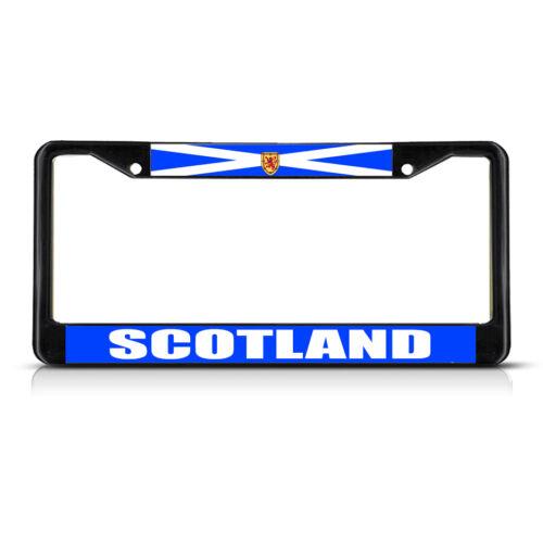 SCOTLAND WITH LION FLAG Black Heavy Duty Metal License Plate Frame Tag Border