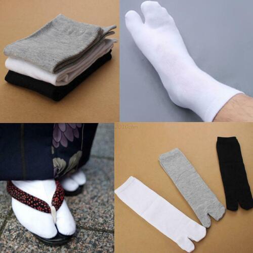 3Pairs Unisex Japanese Kimono Geta Clog Flip Flop Cotton Tabi Split Toe Socks