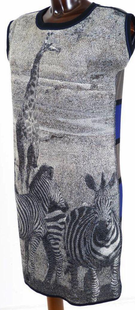 Kleid N1 MARC CAIN Giraffe Zebra Savanne Streifen grau schwarz lila taupe 34 36