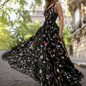 Womens-Embroidered-Floral-Sheer-Mesh-Long-Cocktail-Party-Maxi-Dress-Ball-Gown