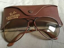 Ray BAN AVIATOR b&l leathers Black Frame 62-14 RARE NEW W/Out tag modificabile