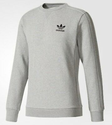 Activewear Adidas Men Essential Fleece Crew Shirts L/s Sweats Gray Tee Jersey Shirt Br4210