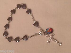 Mother-Mary-BRACELET-Heart-Shaped-Hematite-bead-8-mm-NEW