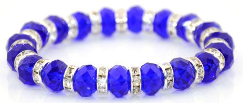 Facettiert glas perlenarmband mit silber und gold rihinestone abstandhalter