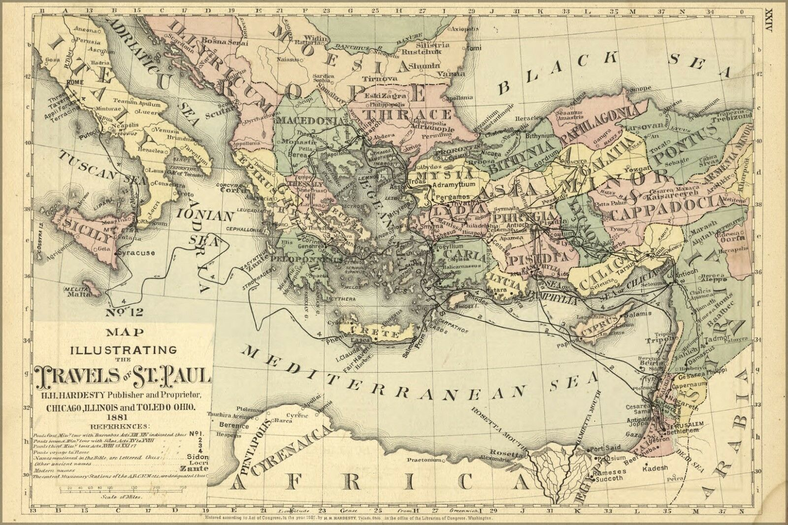 Poster, Molte Misure; Bibbia Mappa Del Viaggi di St.Paul Santo 1881