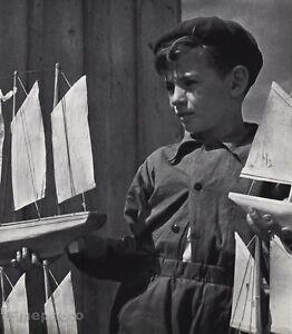 1960 Vintage French Boy Model Boat Toys Hobby Child Photo Art 8x10