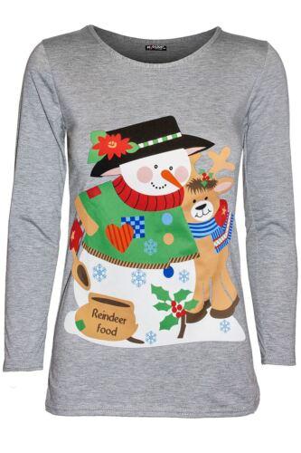 Womens Xmas Snowman Hug Hat Carrot Nose Long Sleeve Ladies Christmas Tee T Shirt