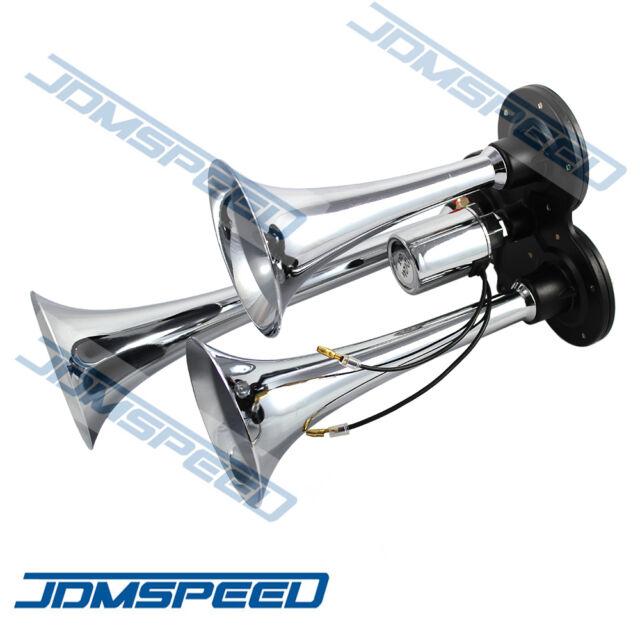 3 Triple Trumpet Air Horn Horns For Truck Mega Train 12V/24V 150db Super Loud