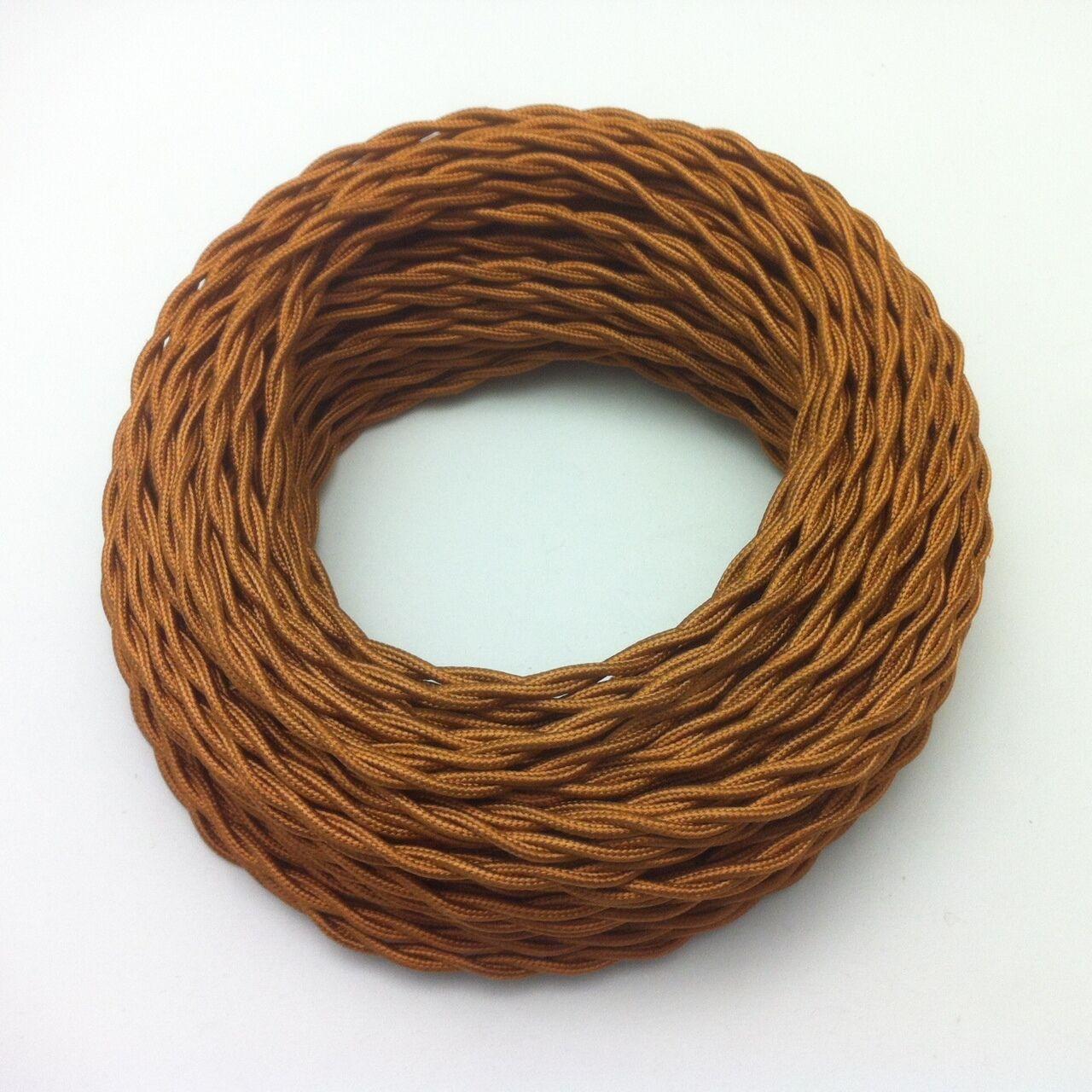 100m Design Textilkabel Stoffkabel Kupfer Bronze 2x0,75 geflochten EU Qualität