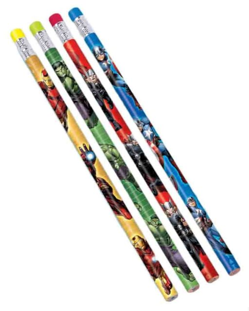 Avengers Pencils with Eraser End Pack of 12 Party Favour New Sealed in Pack