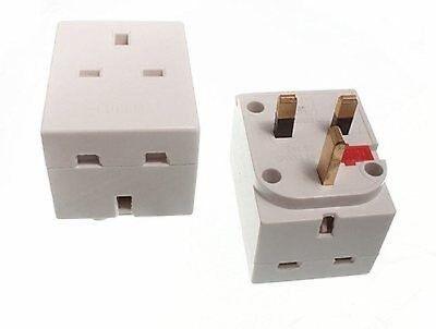 2 fiches à 1 Socket 2-Way SECTEUR ADAPTATEUR SANS FUSIBLE