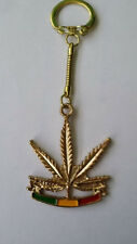 Modern Metal Ganja Rasta Keyring 4.5cm Wide 11cm Long including Chain