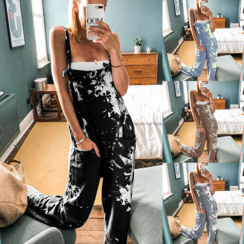 Womens Tie Dye Overalls Casual Baggy Romper Ladies Dungarees Cargo Jumpsuit UK