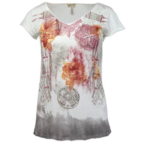 KEY LARGO Damen T-Shirt Shirt Top Bohemian Print Glitzersteinchen Offene Kanten