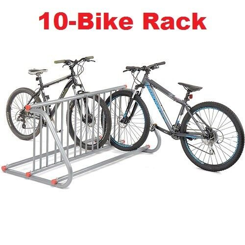 Grid Bike Rack 10-Bike Double Sided Powder Coated Galvanized Steel Bike Storage