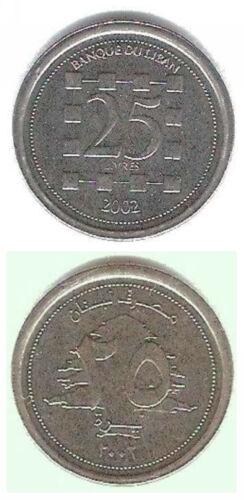 Lebanon 25 Livres 2002-2009 21mm Steel Coin UNC 1pcs Libanon