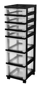 IRIS 7-Drawer Rolling Storage Cart with Organizer Top Black