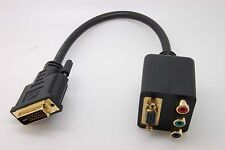 DVI-I Male to VGA/RCA RGB Component Dual Female Y-Splitter Adapter Cable C50