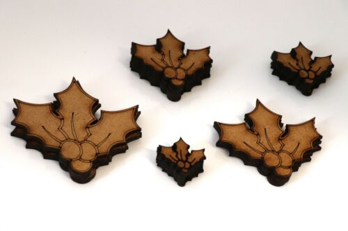 Wooden MDF Holly Shapes Bunting Craft Embellishments Christmas Decoration
