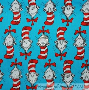 BonEful Fabric FQ Cotton Quilt Red White Green Dr Seuss Cat in the Hat Xmas Sale