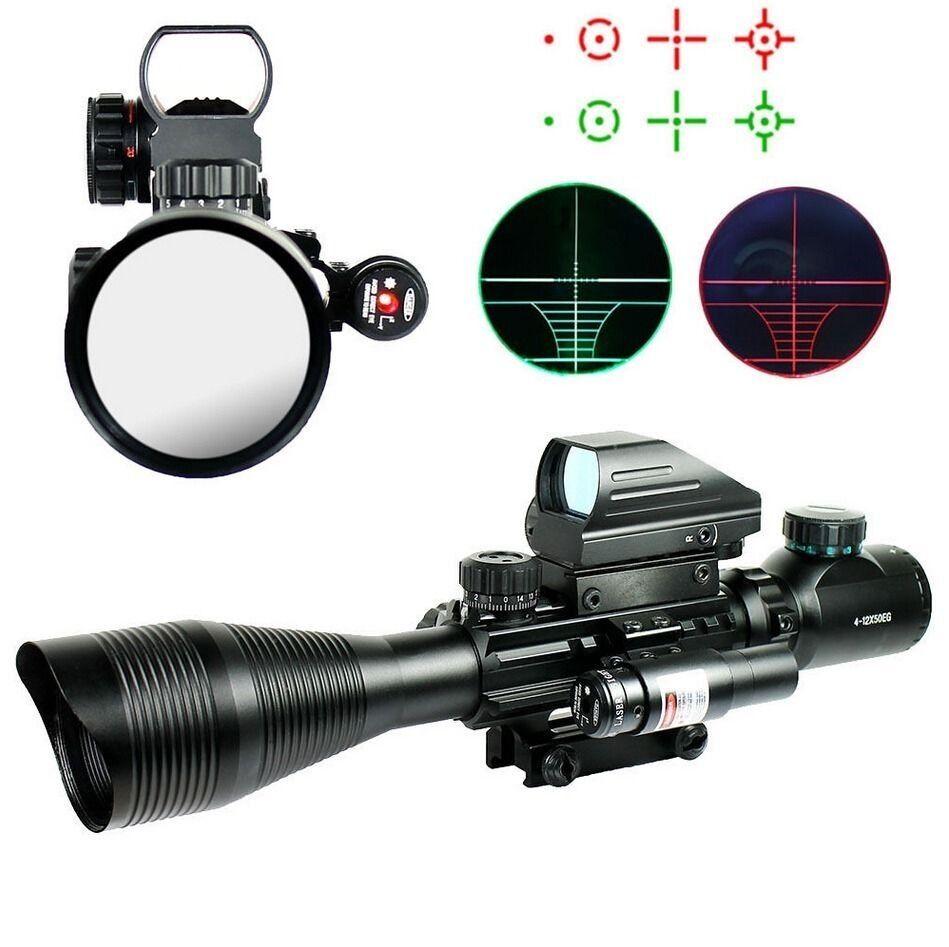 Mira Para Rifle Tactical 4-12X50 eg con Holográfico 4 retículo vista y Rojo Láser