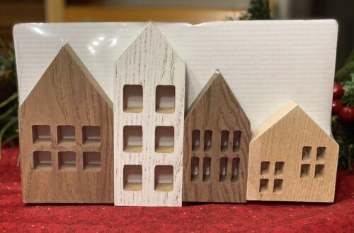 Target Bullseye Playground Wooden Houses 2020 Seasonal Christmas Holiday 4pc Set