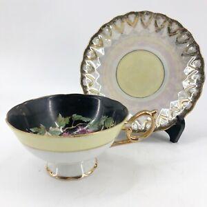 Vintage-Hand-Painted-Footed-Teacup-amp-Saucer-Fruit-Berries-Black-Pink-Gold