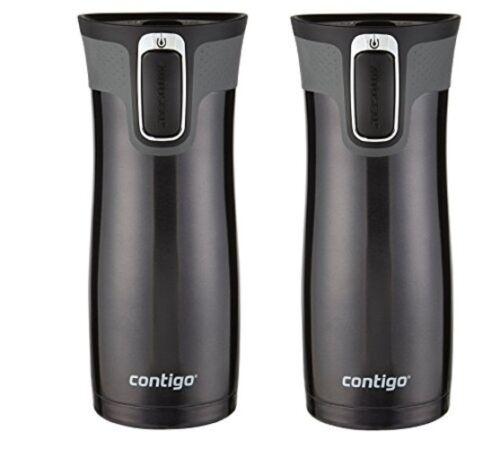 Contigo Autoseal Tasse de voyage-Acier inoxydable vide Mug isotherme-Pack de 2 Noir