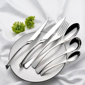 New-Luxury-Silver-Stainless-Steel-Knife-Fork-Spoon-Cutlery-Dinnerware-Tableware