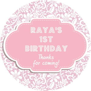 Personalised 1st Birthday Party stickers labels For Sweet Cones etc 05-24