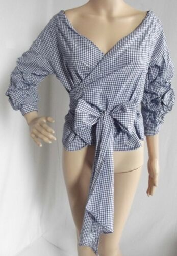 Blue White Medium Checked Gingham Wrap Bow Tie Ruffle Off Shoulder Blouse Shirt by Fashion Web