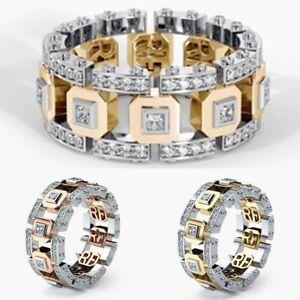 Unisex-Bridal-Gold-Rosegold-Edelstahl-Kristall-Band-Ringe-Herren-Damen-Schmuck