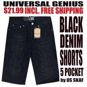 Universal-Genius-NWT-Men-039-s-Black-Semi-Faded-Denim-Shorts-With-Free-Shipping